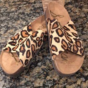 Sam Edelman Cowhide Leopard Print Sandals 7